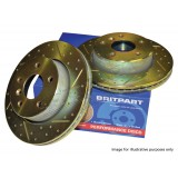 Brake Discs Front Vented Drilled & Grooved x 2 (Britpart) SDB000380 DA4606